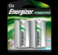 Energizer  2PK D NIMH Rechargeable Battery - NH50BP2